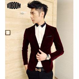Wholesale-New Arrival Single Button Casual Velvet Blazers Men Korean Fashion Slim Fit Casual Wine Red Navy Blue Blazer Clothing M-XXL