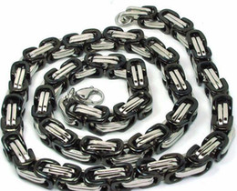 hot sale fashion new byzantine chain 316L Stainless steel 24'' huge 9mm Link Chains Necklace,mens gifts