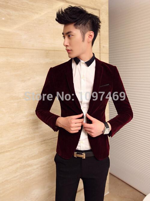 Wholesale-Fashion Casual Blue Velvet Blazer Men Clothing Suit Slim ...