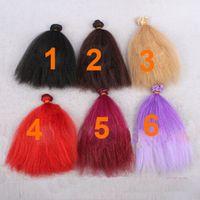 purple black hair color - pieces cm red purple black flaxen color doll fluffy curl wig hair for BJD diy