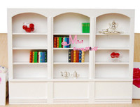 wood bookcase - Wood white Bookshelf Bookcase Library Cabinet Reading Room Scale Dollhouse Miniature Furniture