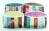 Wholesale Colorful Patchwork Small Zipper Cosmetic Bag Vintage Women China Luxury Silk Brocade Fabric Tassel Makeup Case Storage Pouch