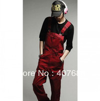 Wholesale Spring Men s casual bib pants harem pants all match fashion red black overalls jumpsuits