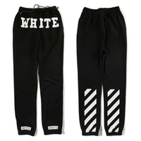 air pants - New Hood air by autumn and winter pyrex hba Pants Pure cotton WHITE letter print elastic long trouser Plus Size