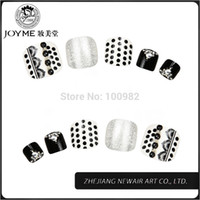 acrylic toe nails designs - Classical White and Black Design Toe Round Nail Tips Full Cover Acrylic UV Gel False Toe Tips Shiny Decoration
