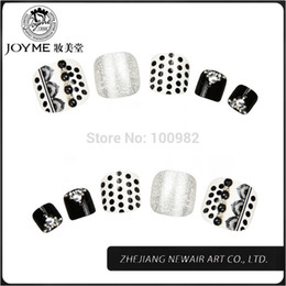 Wholesale-2015 Classical White and Black Design Toe Round Nail Tips Full Cover Acrylic UV Gel False Toe Tips Shiny Decoration