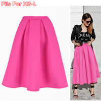 american apparel stocks - Dropshipping In Stock Plain Pink Vintage Midi Long Puff Pleated High Waist Skirt American Apparel