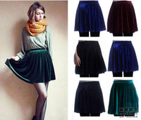 american apparel velvet - American Apparel Winter Retro Velvet New Women Skirts Black Blue Summer Autumn Pleated Knitted Skirt
