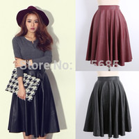 Wholesale Spring Summer New Women Skirts Vintage Faux PU Leather High Waist Pleated Midi Skirt In Black Red For Female Girl c028