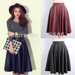 Wholesale- Spring Summer New Women Skirts Vintage Faux PU Leather High Waist Pleated Midi Skirt In Black Red For Female Girl 148c028