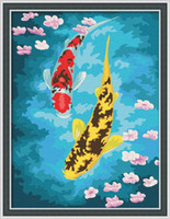 Cheap Paint by Number kit 40x30cm (16x12'') Two Carp DIY Painting PBN drop shipping RH5009