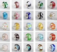 Wholesale Mixed Colorful Pretty Murano Lampwork Glass European Beads Fit DIY Bracelets Necklaces