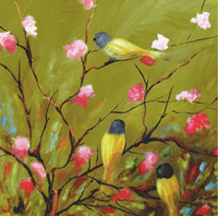 Wholesale Birds on the tree full of flowers quality handpainted oil painting picture print living room decor art canvas craft