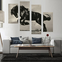 horse decor - Huge Modern Pieces Combined Oil Painting On Canvas Jumping Black Horse Modern Home Decor