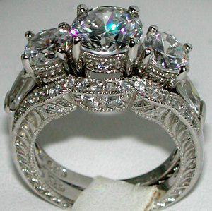 antique style 3 stone cz wedding ring set sz - Antique Wedding Ring Sets