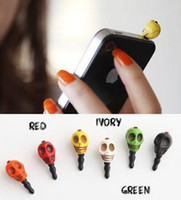 Cheap Wholesale-Free Shipping! Min. Order is 10USD(Can Mixed Order) Fashion vintage punk multicolor skull cell phone earphones dust plug