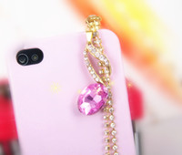 Cheap Wholesale-MINI ORDER USD15(mixed) Free shipping Music notation 3.5mm Crystal Dustproof Cell Phone Headset Dust Plug for iPhone