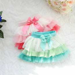 Wholesale-Rainbow Fashion girls Color of the veil tutu skirt yarn baby girl stitching lace flower skirts children's clothing summer wear
