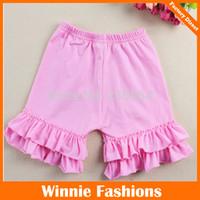 Wholesale girls cotton outfit Baby clothing pink shorts chevron ruffle pant Capri pants baby outfit chevron ruffle shorts