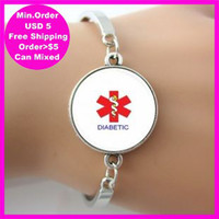 alert silver - Alert Medical Diabetic Photo Background Red White Glass Dome Metal Bangle Silver Cuff Bracelet Gift New lucky fashion