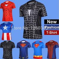 xxxxl size jersey - Hot Sale Superman Quick drying Running Sport T Shirt Spider Man Casual Short Jersey Size S XXXXL