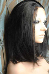 Wholesale 2011 New Silky Straight B Natural Black Lace Front Human Hair Wigs Indian Remy Hair