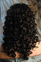 Wholesale XCSUNNY Brand New Gorgeous quot quot B Deep Wave Glueless Swiss Lace Front Indian Human Hair Wigs GLF091