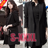 Cheap Wholesale-2015 Free Shipping New Spring autumn Fashion Women Slim fit Business Puffy Sleeves black Suit Blazer long Jacket Coat WT3096
