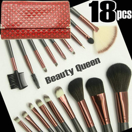 Classic Retro Maroon Bag * 18pcs Makeup Brush Set Profession COSMETIC BRUSHES SET PONY GOAT HAIR Dark Red Leather Pouch Professional
