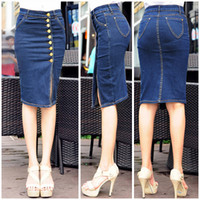 beautiful jeans skirt - Blue color Midi Waist Denim skirt Knee Length Single breasted Slit jeans skirt give you beautiful buttock line Plus Size NZQ032