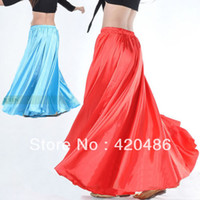 Cheap Wholesale-New Fashion Womens Multi Satin Skirt Belly Dance Latin Costume Gypsy Tribal Maxi Skirt Free Shipping