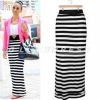 Wholesale Black White Striped Maxi Skirt - Buy Cheap Black White ...