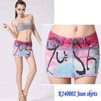 Venta al por mayor de 2015 nueva llegada atractiva de las mujeres impresión del cortocircuito de Jean Faldas de lavado en zip faldas de mezclilla Saias Maxi Jupe envío gratuito