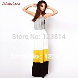 Gros-Fashion Casual femmes Style Mignon Jupe Bohème Colorful Casual Pleats Patchwork Haute Taille Longue Mode élégante Mignon Jupe D085 à partir de bohême plissé jupe longue fournisseurs