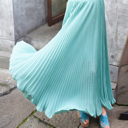 Bohême plissé jupe longue à vendre-complète boheme jupe plissée ultra longue jupe buste mousseline taille haute grande jupe à volants ourlet 10 couleurs gros-2015 mode d'été des femmes