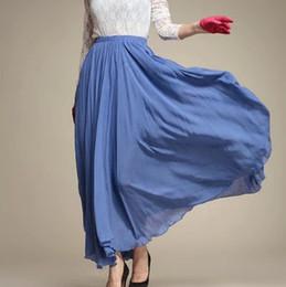Gros-2015 l'été Bohême jupe longue jupe coton buste plissé jupe base multi-couleurs de S des femmes / M / L QY14022520 à partir de bohême plissé jupe longue fournisseurs