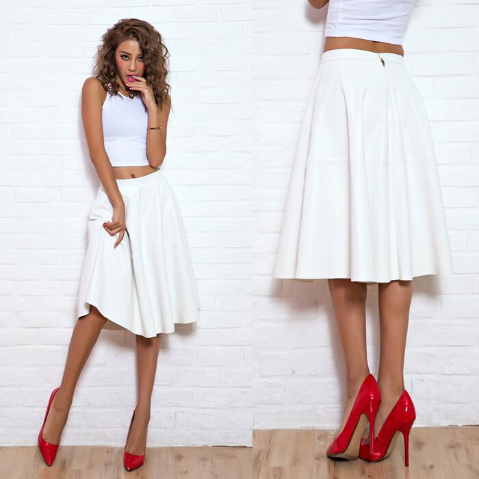2017 Wholesale Pu Faux Leather White Midi Skirt Long Puff Flare ...