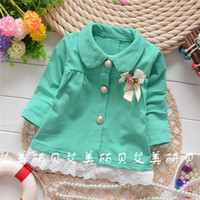 Cheap Wholesale-2015 Autumn Korean baby girls Standard chest bow flowers cardigan jackets,children fashion lace coat,V1031