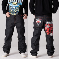 Cheap Wholesale-Brand Gongsta Bulls men denim jeans 2015 New Winter Autumn hip hop hiphop rap skateboard pants loose 30-42 black