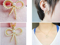 Wholesale Lowest Price HOT NEW SELLING Pearl earrings necklace set bows earrings necklace