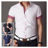 shirts for men italian - Italian designer button down Slim fit short Sleeve Prints shirt for men Hombres de camisa QR