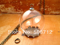 apothecary - sets Clear Glass Globe Necklace Kit Bottle Pendant DIY Antique Bronze Top Terrarium Bottle Charm Apothecary Jewelry Supplies