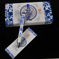 Calligraphy & Fountain Pens   Best Gift Fountain Pen High End Business Pens Unique China Blue and White Porcelain Pens with Hardcover Box 2pcs lot Free