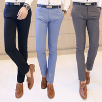 designer tights - Suit Pants Men Slim Fit Western Trousers New Autumn Spring Tight fitting Casual Cotton Fashion Kpop Personalized Designer