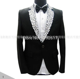 Wholesale-Free ship mens tuxedo suit black white rhinestone collar decoration, jacket with pants, not include shirt