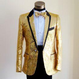 Wholesale new men s dress performing service sequined suit suit best man host Gold top party high quality mens suit