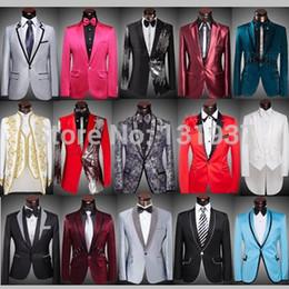 (Al por mayor de las chaquetas + pantalones + pajarita) 2015 hombres de la marca juegos delgados de baile del novio del smoking azul rojo del oro de plata de las lentejuelas del vestido de boda Blazers desde rojo corbatas de lentejuelas hombres proveedores