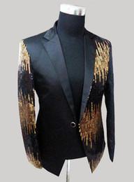 Wholesale-(Jacket + pants)new men suits slim red formal dress the groom suit paillette mounted casual men's suit club
