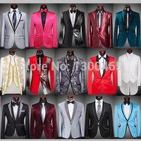 Precio de Rojo corbatas de lentejuelas hombres-(empate Jackets + Pants + Bow) al por mayor de 2.015 hombres trajes chaquetas delgadas del smoking del novio de lentejuelas de oro Prom Vino Tinto Negro vestido de novia con lentejuelas