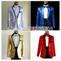 Wholesale Sequins suit Men s groom suit red tuxedo jacket plus size clothing set bridegroom suit set fashion blazer prom